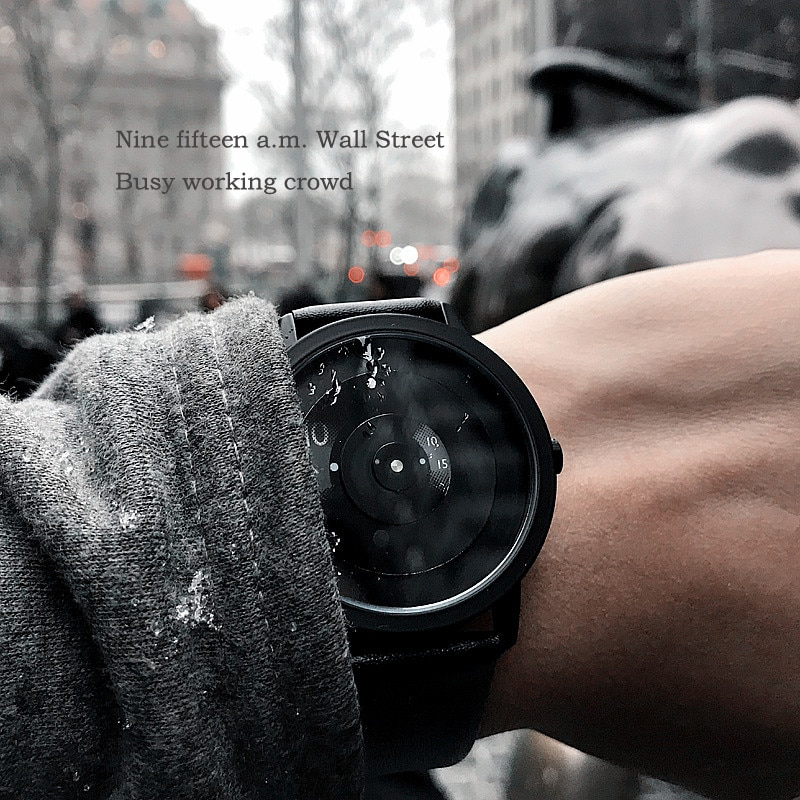 2019 Enmex creative style steel band wristwatch focal point special design Hidden numbers fashion men casual quartz  watch enlarge
