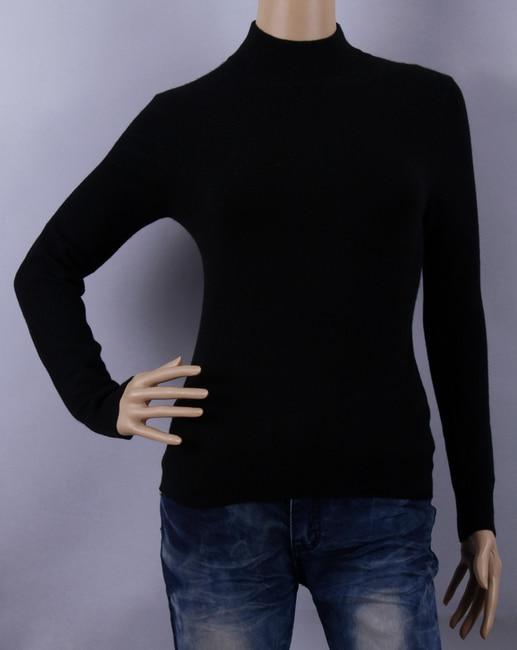 نقية سترة الكشمير المعنقة المرأة الياقة المدورة الأسود البلوز البلوزات الدافئة النسيج الطبيعي جودة عالية التخليص بيع شحن مجاني