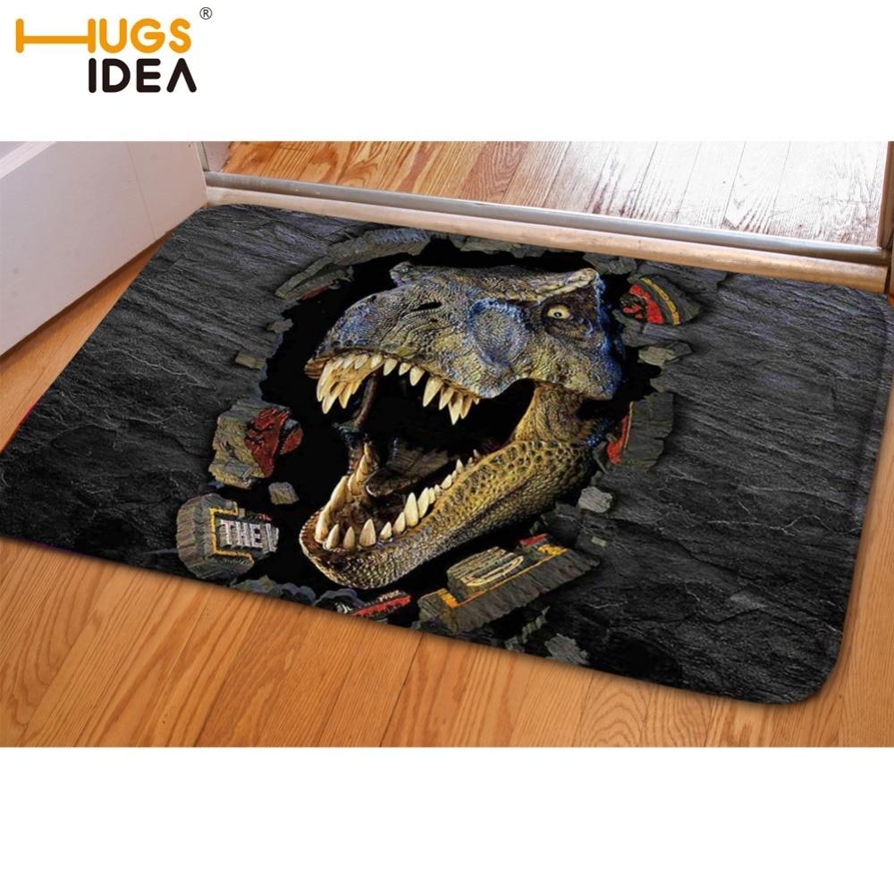 HUGSIDEA 3D Animals Crazy Horse Carpets Front Entrance Door Mat Creative Dinosaur Carpet for Living Room Tapete Anti-Slip Rugs