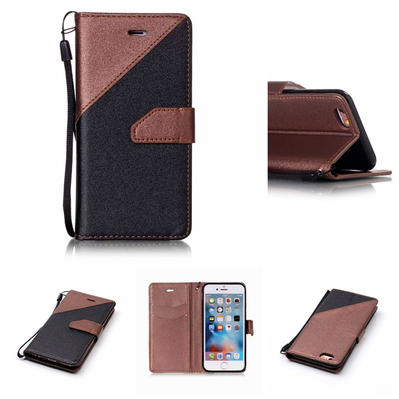 Karribeca Flip PU Funda de cuero para iphone 7 plus color dual cartera iphone 7 plus caso coque etui kryty fodral tok husa