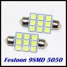 100X festoon LED 36mm 39mm 42mm 5050 LED C5W led festoon light 9SMD LED Festoon Interior Dome Light Lamp Bulb For Car