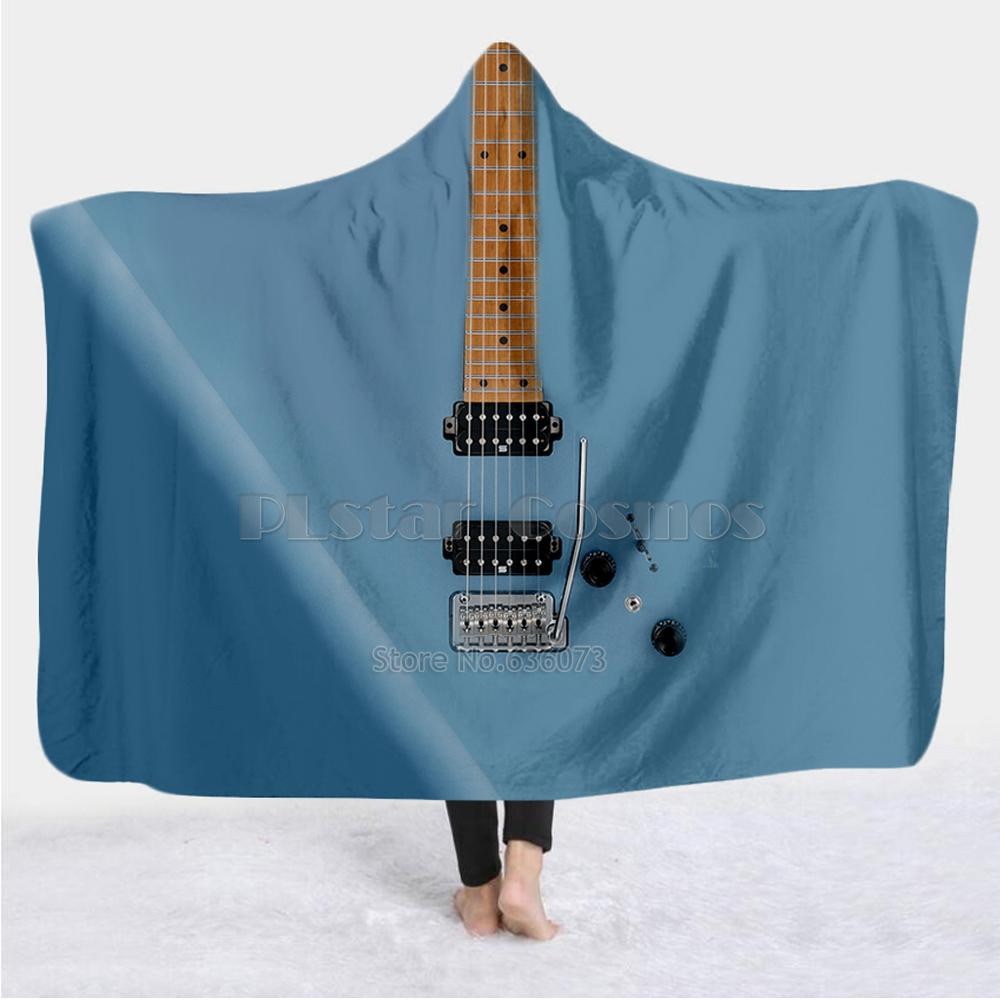 Violin Guitar art Musical instrument Blanket Hooded Blanket 3D full print Wearable Blanket Adults men women Blanket style-1