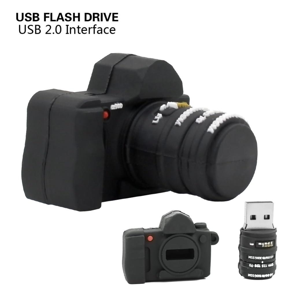 Unidad flash usb pen drive USB 2,0 Flash pendrive 4GB 8GB 16GB 32GB Mini cámara negra de memoria encantador U disco con logo