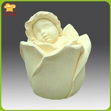 Egbhouse-moule 3D en Silicone   Rose Baby Angel, bougie à savon en Silicone 3D, moule en plâtre