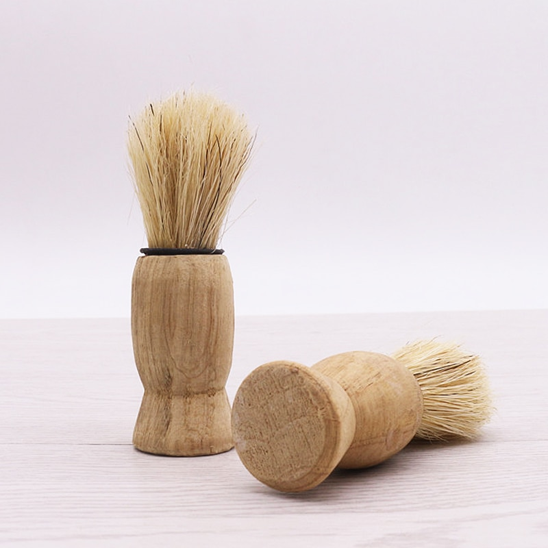 1Pcs Shaving foam razor brush wooden handle sweeping brush bristle cleaning brush,Hair treatment after haircut