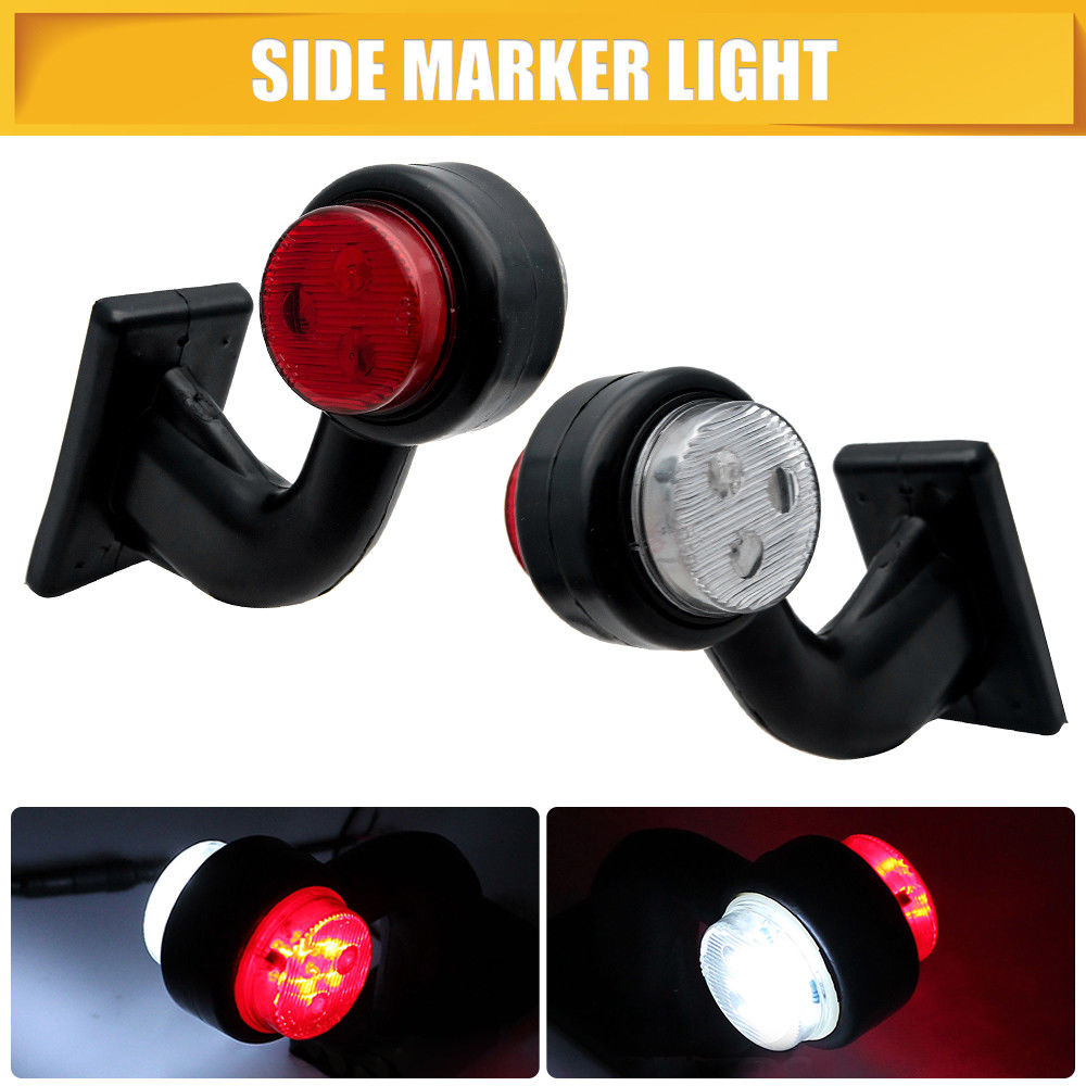 2 uds 12 LED indicador lateral luz indicadora luz lateral lámpara marcada lateral para camión caravana remolque 12/24V rojo blanco