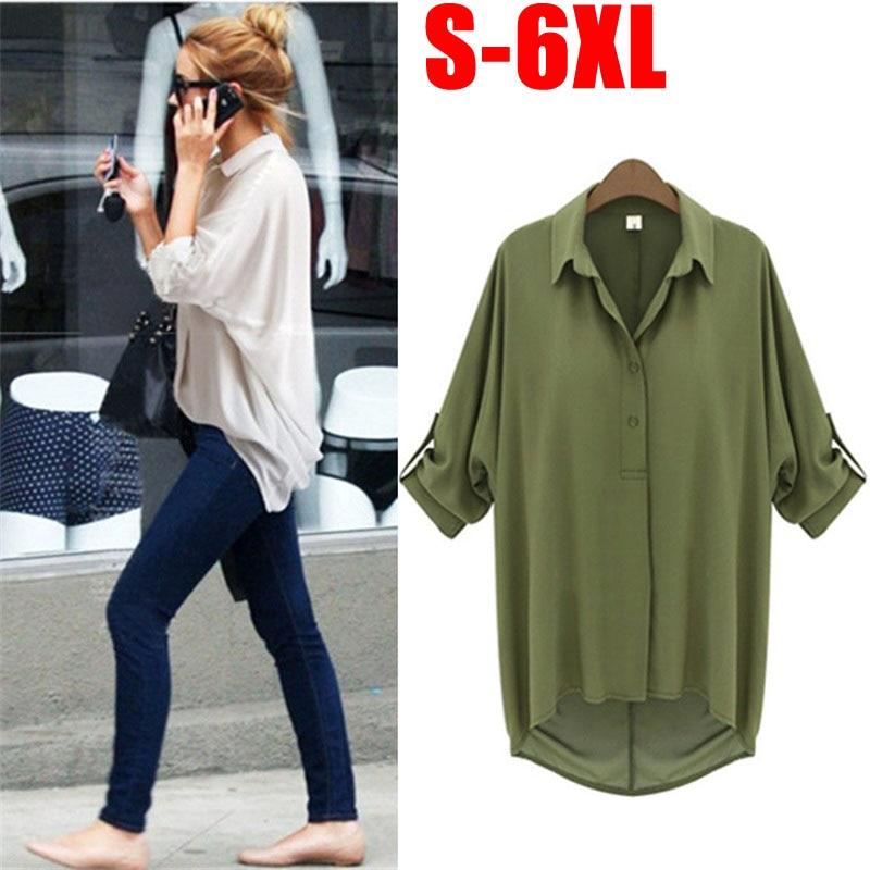 6XL 5XL 4XL 3XL Big Blousa Summer Fashion Plus Size Chiffon Blouse Batwing Sleeve Loose Shirt Casual Women Irregular Blouse Tops
