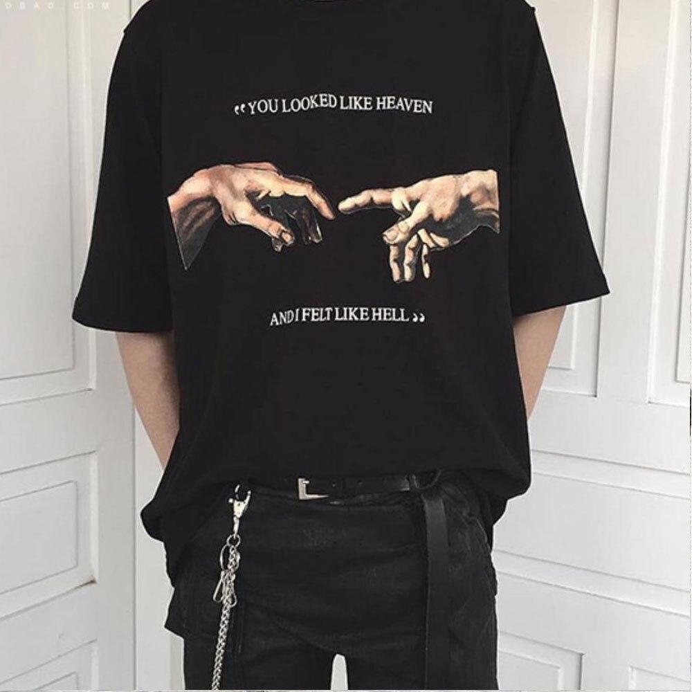 1 шт., вы выглядели как небеса и я чувствовал себя как ад, микаеланжело создание Адама руки печать футболка женская летняя футболка с коротким рукавом