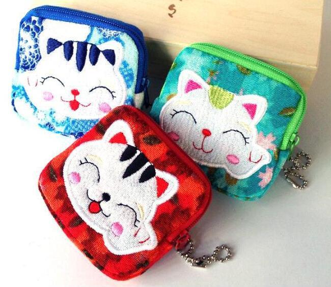 Monedero bonito para mujer, monedero pequeño de gato de la suerte en 10 estilos, monedero de tela de Zero, bolso de lona, bolsa de regalo para estudiantes al por mayor