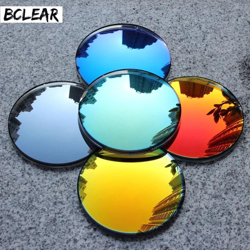BCLEAR 1.49 index Fashion Colorful Non-polarized  UV400 Mirror Reflective Sunglasses Prescription Lenses Myopia Lens
