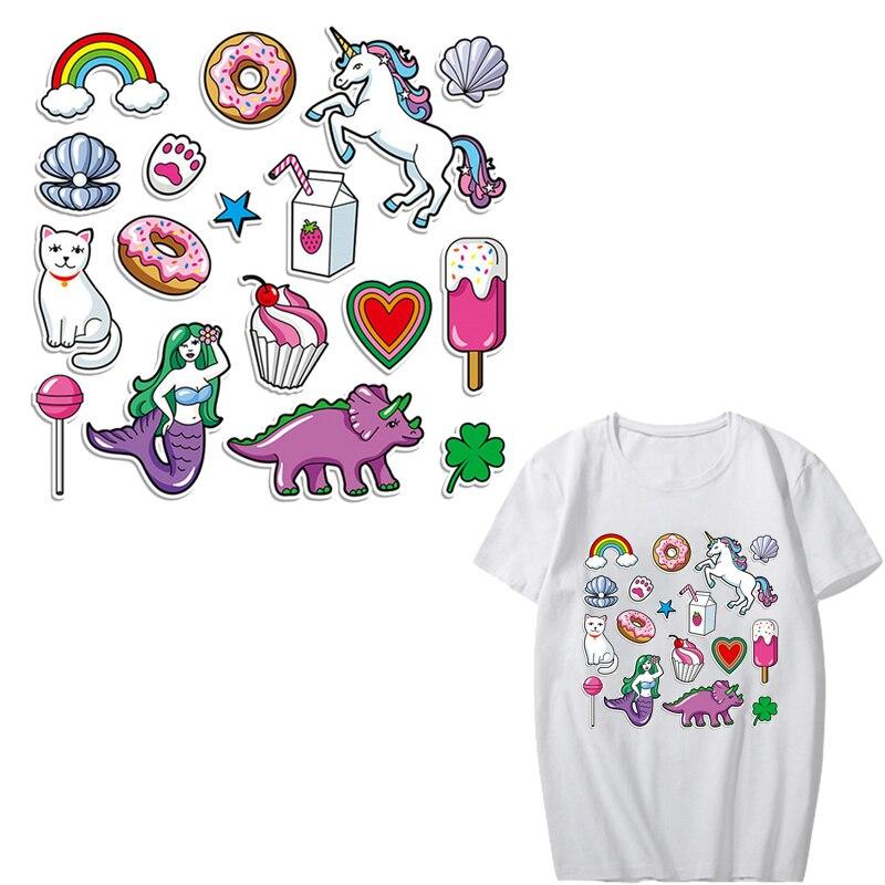 Animal lindo conjunto de parches de hierro en dinosaurio, unicornio gato de parches para la ropa de los niños de DIY de rayas ropa de prensa de calor