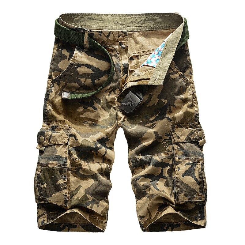 Calção camuflada masculina cargo, calções casuais, soltos, de trabalho, militar, plus size, 2020 29-44