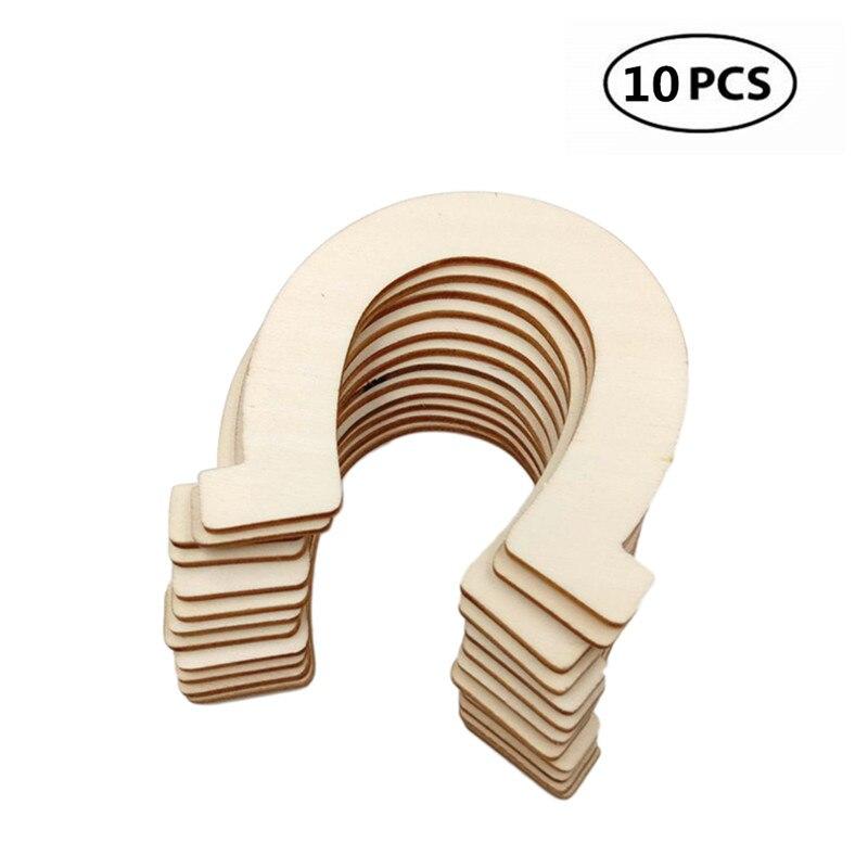 10 Uds discos de madera en forma de herradura, regalo de madera en blanco, recortes de madera sin terminar, decoración artesanal DIY