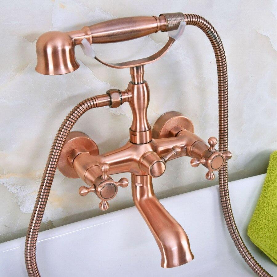 حنفية حمام نحاسية عتيقة مع مقابض مزدوجة مثبتة على الحائط ودش يدوي ، مثبتة على الحائط ، mna339