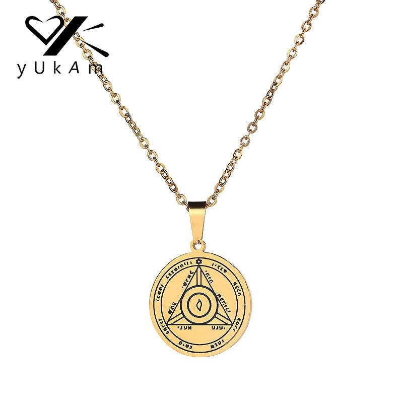 YUKAM hombres mujeres Pentacle de sol talismán clave de Solomon Seal colgantes collares Kabbalah Hermetic Enochian wiccano pagano joyería