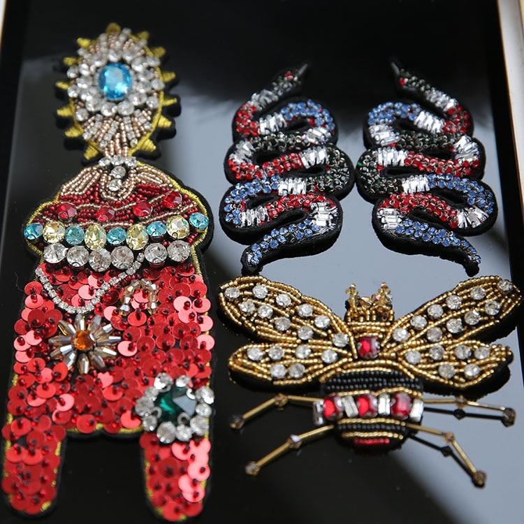 Golden Cicada Snake Sequins Stones Bling Rhinestones Beads Appliques Cartoon Patch Garment Appliques DIY brooch