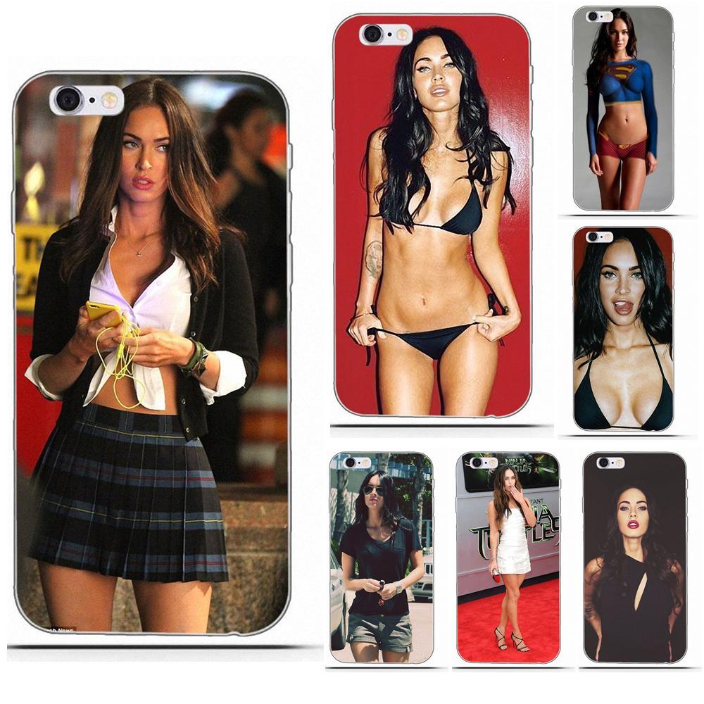 Perciron Para iPhone 4 4S 5 5C SE 6 6 S 7 8 Plus X Galaxy S5 S6 S7 S8 grande Núcleo II Alpha Prime TPU Protetora Megan Fox