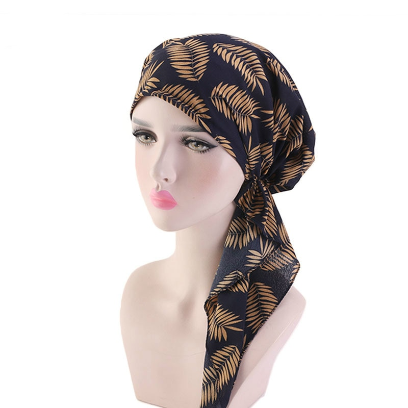 2019 Muslim Solid Color Long-tailed hat Stretch Turban Ruffle Hair Hats Beanie Bandanas Scarf Head Wrap Headwear for Women 04