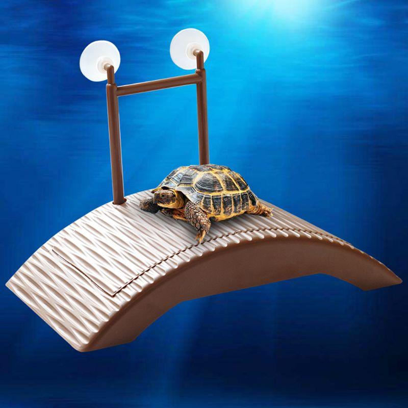 Tortuga plataforma reptil automático de altura ajustable de la isla a disfrutar herramienta jugar decoración de juguetes de plástico de puente para reptil caso