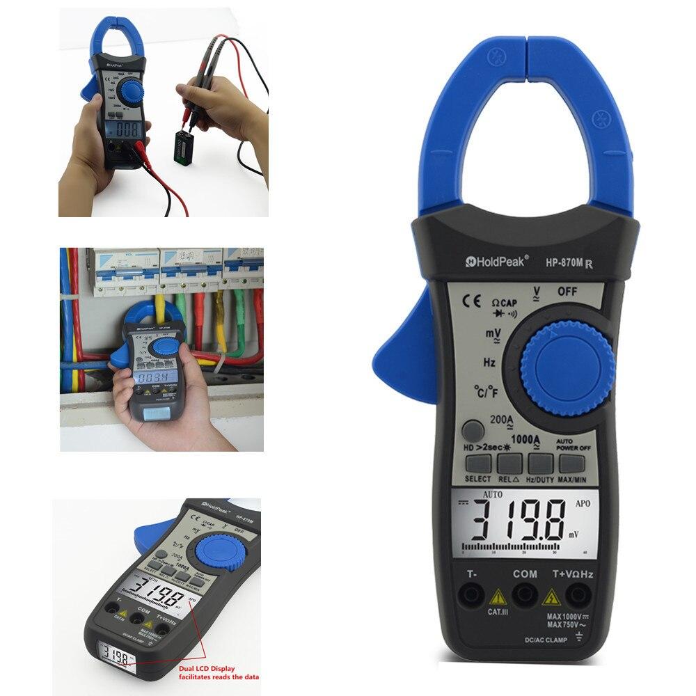 Holdpeak, HP-870MR, valores eficaces auténticos, multímetro de voltaje CC/Ca de medidor de pinza Digital de rango automático con retención de datos, medidor de temperatura