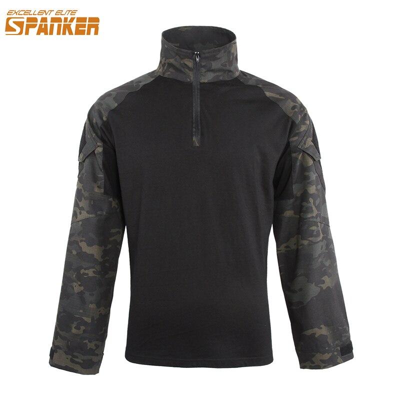 Excelente elite spanker camuflagem masculina t-shirts de manga longa exército g3 combate tático t-shirts ao ar livre selva caça homem t-shirts