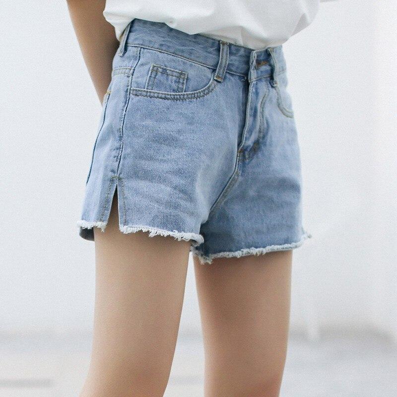 ROPALIA High Waist Denim Shorts Female Short Jeans for Women Summer Fashion Split Pockets Ladies Shorts Solid Denim Shorts