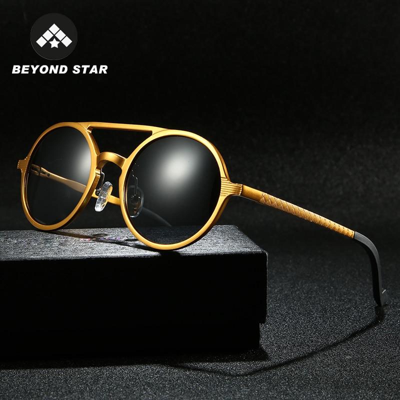BEYONDSTAR Retro Polarised Sun Glasses For Men Aluminum Alloy Round Bling Sunglasses Black Grey Luxu