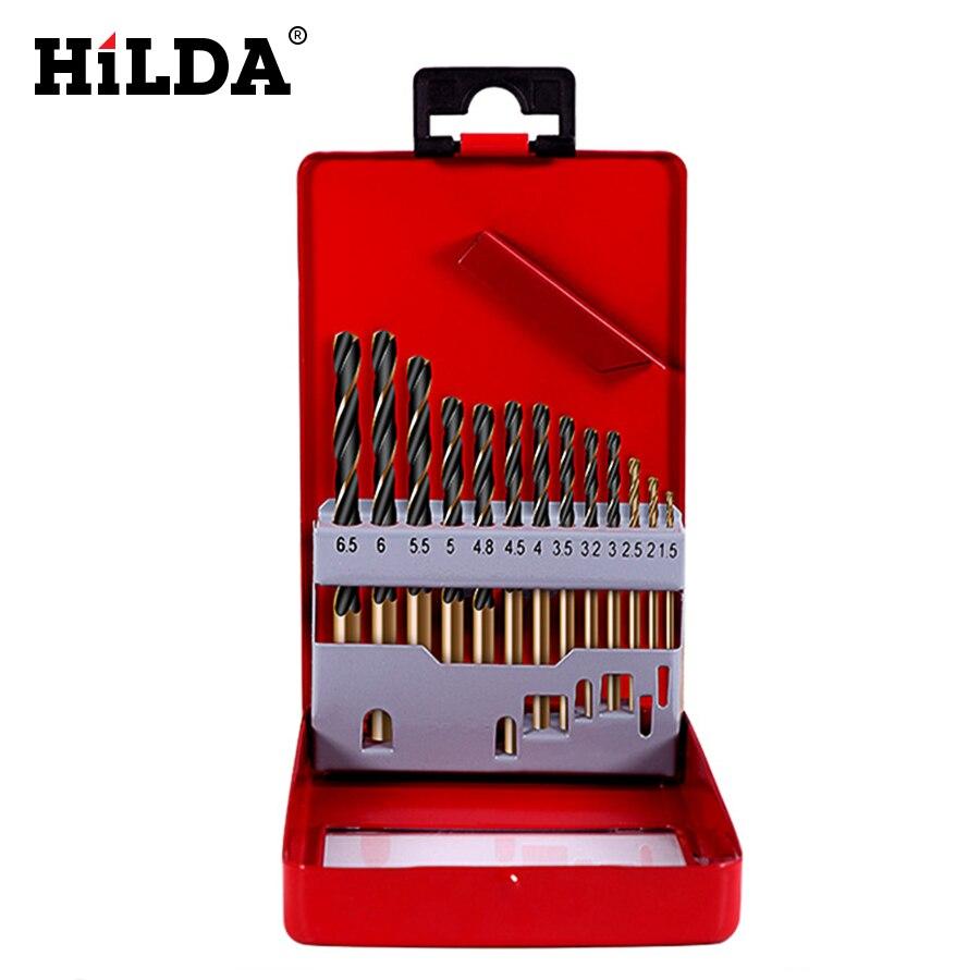 Hilda hss broca da torção para o metal titânio revestido de alta velocidade de aço conjunto de brocas ferramentas elétricas acessórios