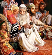 Peinture de décoration de maison   5D, rabbin, tenant Torah, broderie au point de couture, diamant rond entier, peinture en broderie