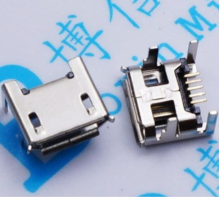 Micro USB mini conector 5pin seat Jack Micro usb 4 pies con placa de inserción de asiento lateral Mini usb conector para el enchufe de cola móvil