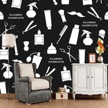 Papier peint de barbier   Motif vintage de salon, salon, salon, salon, center commercial, mur en PVC, noir et blanc