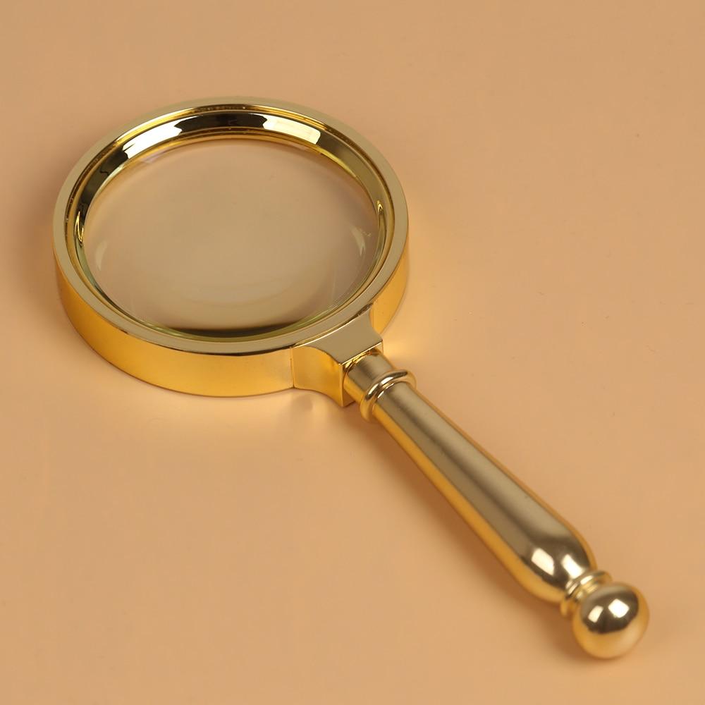 Bijia 5x70mm de diâmetro clássico handheld ouro matel lupa leitura mapa jornal lupa jóias lupa
