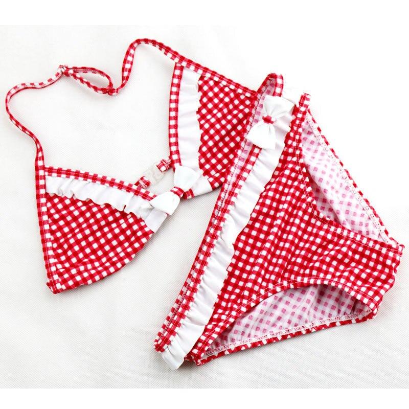 2020 venda quente meninas grandes conjunto de biquíni bonito xadrez babados duas peças maiô para adolescente banho wtih um bowknot 6-16y