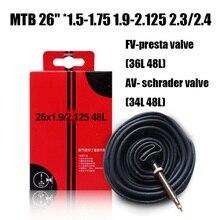 """26 """"* 1.5-1.75 1.9-2.125 2.3/4 MTB 내부 튜브 자전거 타이어 사이클링 액세서리 AV FV 프렌치 밸브 Presta Valve 48L"""