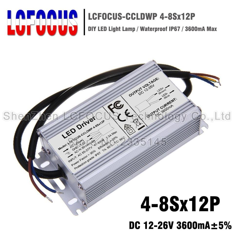 4-8Sx12P Controlador LED impermeable 48 60 72 84 96 W vatios salida 12-26 V 3600mA transformadores de iluminación DIY la luz de calle del reflector