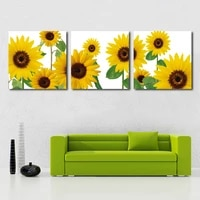 no frame 3 panels modern home decoration pictures sunflower canvas painting for bedroom decorative wall art posters and prints