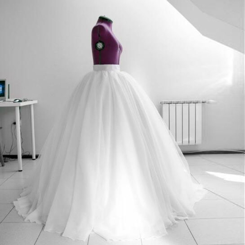 Off White Puffy Maxi Saia de Tule Saia Longa Elastic Mulheres Cintura Alta Bola Saia Petticoat Nupcial Para Festa de Casamento Personalizado vestido
