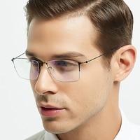 ELECCION Titanium Alloy Optical Glasses Frame Men Ultralight Square Myopia Prescription Eyeglasses Male Half Screwless Eyewear