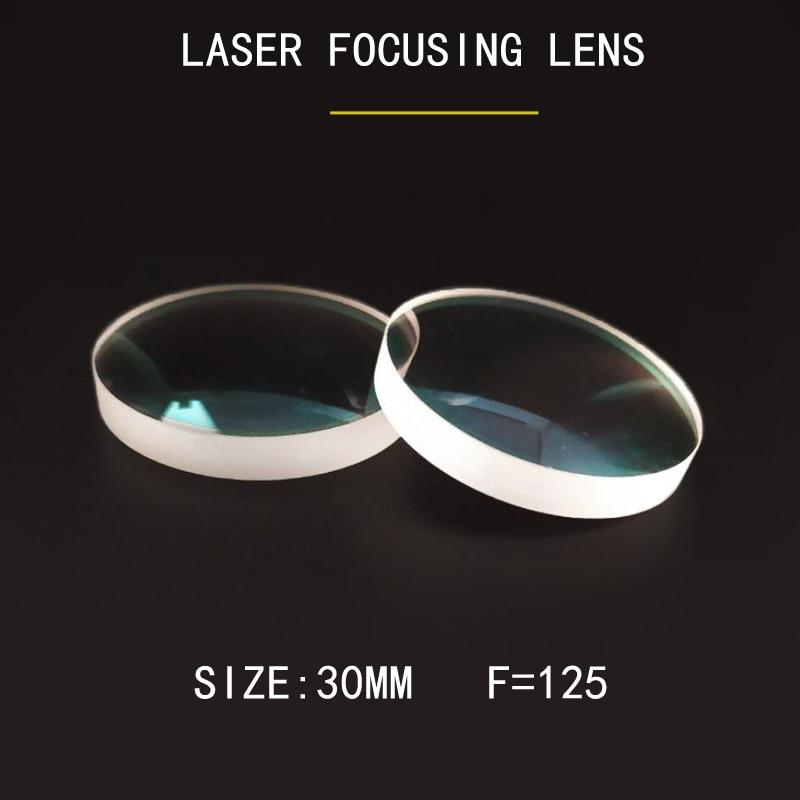 Fibra de Corte A Laser com foco lente Weimeng 10 JGS1 pçs/saco 30mm F = 125 lentes laser claro QUARTZ 1064nm AR forma Plano-convexo