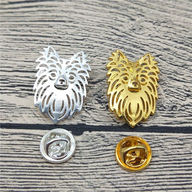 Nuevos broches y pines de Chihuahua de pelo largo, broches de Metal de moda para hombres, joyería para mascotas