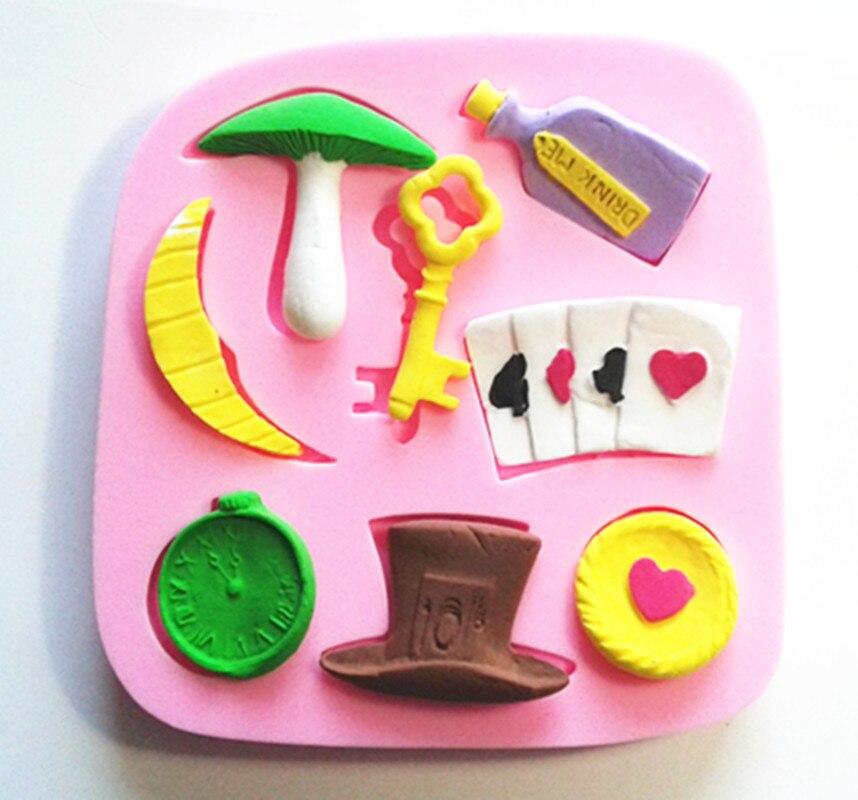 9287 Alice Caballero Sombrero Loco ver Poker de silicona Fondant molde de la torta de azúcar molde Chocolate molde de decoración para pastelitos