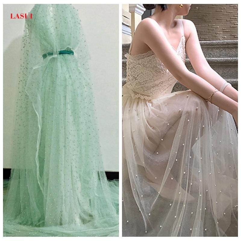 LASUI 3y = lote de 5 colores verde, morado, beige, encaje con cuentas irregulares de malla suave con incrustaciones de perlas de tela original manualidades con cuentas vestido F0004
