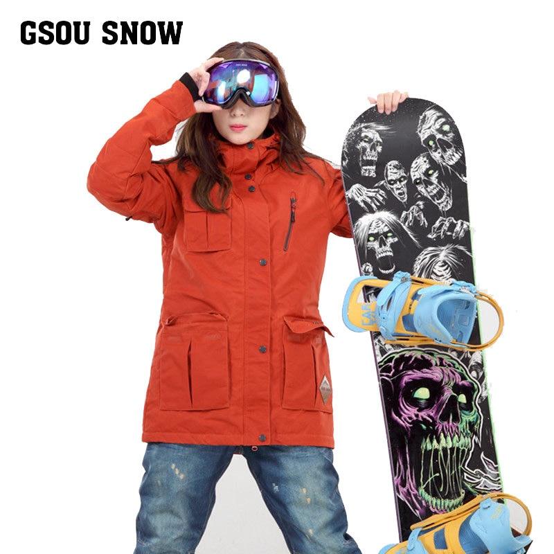 Женская оранжевая Лыжная куртка средней длины, анорак с несколькими карманами для катания на сноуборде и езды на велосипеде, женское водоне...