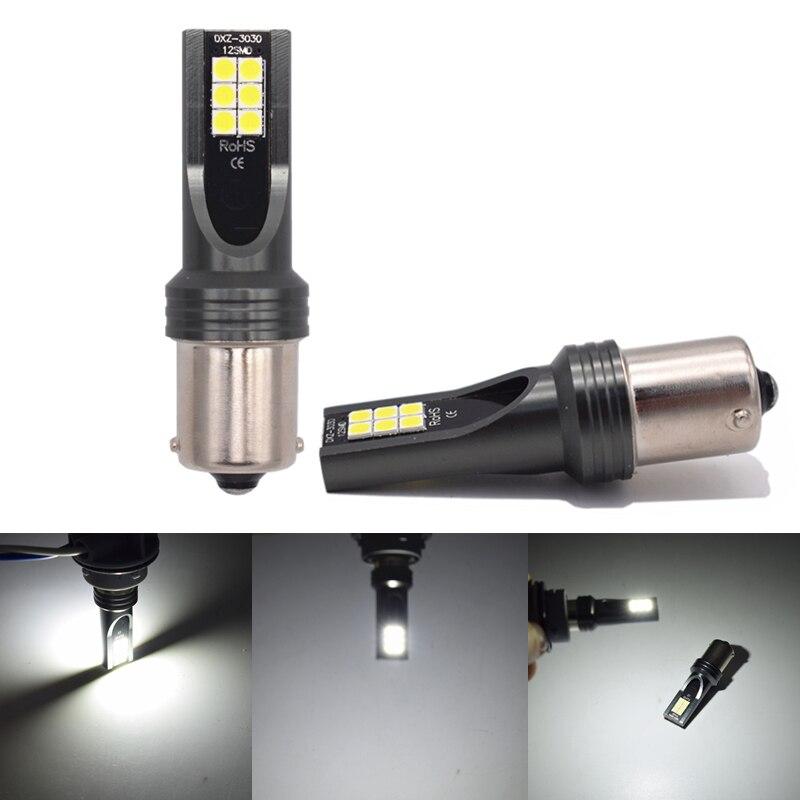 YIJINSHENG 2 piezas 1157, 1156 de 3030 12SMD LED coche reverso de señal de vuelta de luz bombillas BAY15D coche cola lámpara Auto accesorios