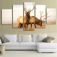 5 panel deer waterfall painting home living room decoration canvas print painting large canvas art unframed combined oil picture