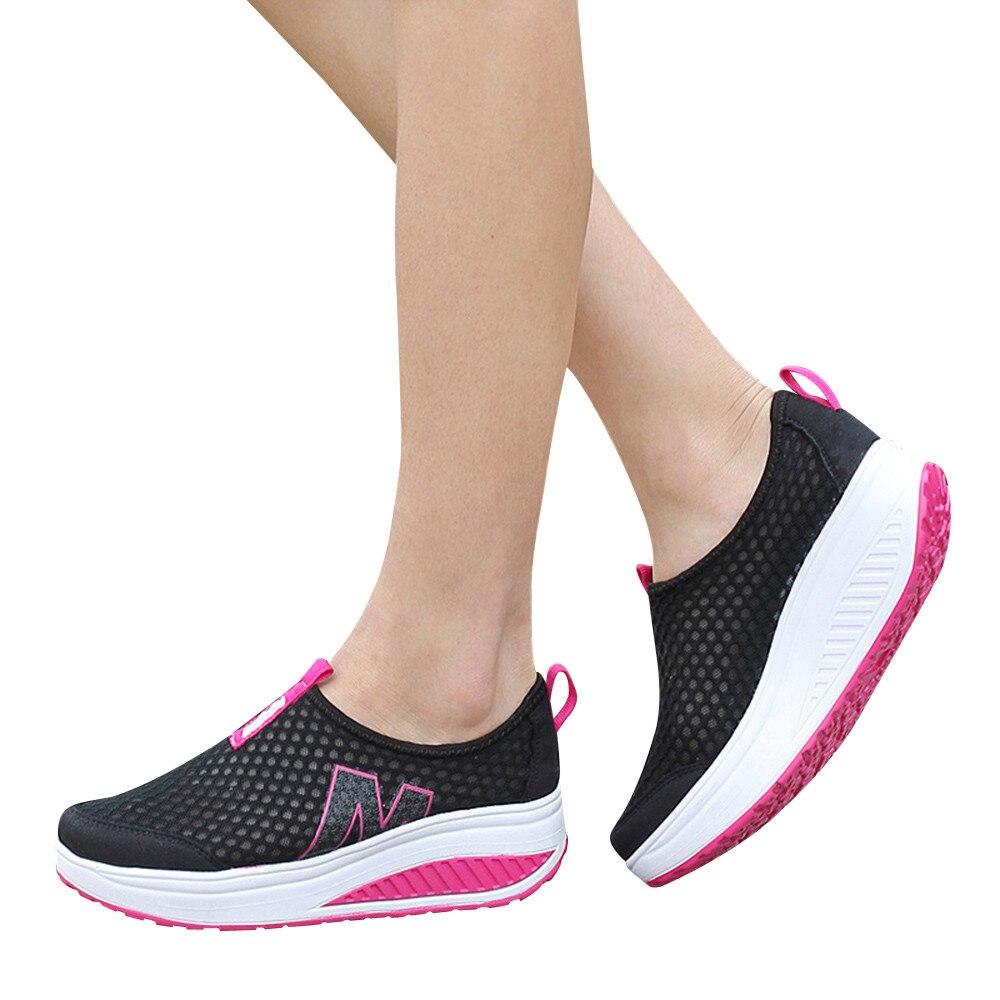 Tênis plataforma para mulheres, sapatos para mulheres de malha respirável