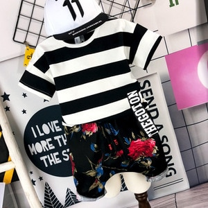 2PCS WLG boys summer casual clothing set kids striped t shirt and floral printed short set baby all match clothes children 2-6T