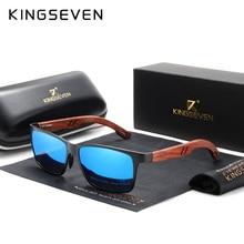 KINGSEVEN-lunettes de soleil en bois + aluminium   Lunettes de soleil stylées à la main pour femmes, lunettes de soleil polarisées naturelles, carré UV400