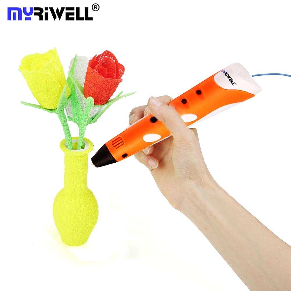 Myriwell pintura pluma 3d ABS PLA filamento regalos de cumpleaños para niños Diy mejor dibujo pluma 3 D bolígrafo Creativo mágico pluma 3d pluma