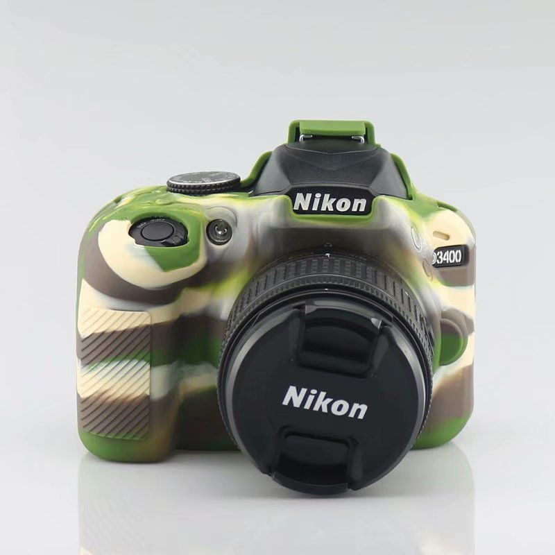 Caja de bolsa de cámara para Nikon D90 D3300 D3400 D3500 D5100 D5200 D5300 D5500 D5600 DSLR de silicona suave PROTECCIÓN DE GOMA caso